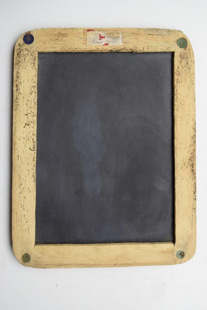 Beautiful Chalk Board Slate Rare Framed Black Stone Old Double Sided Slate #1620