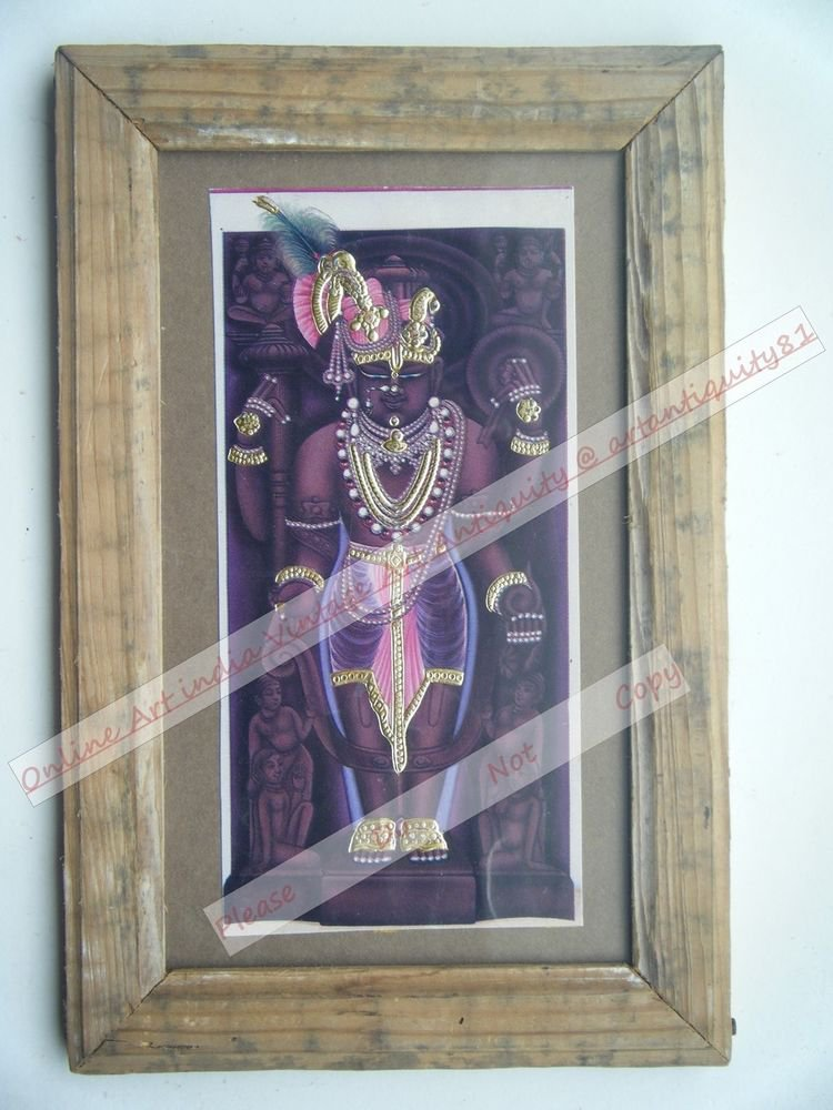 Shrinathji Krishna Avatar Home Worship Old Print in Old Wooden Frame India #2560