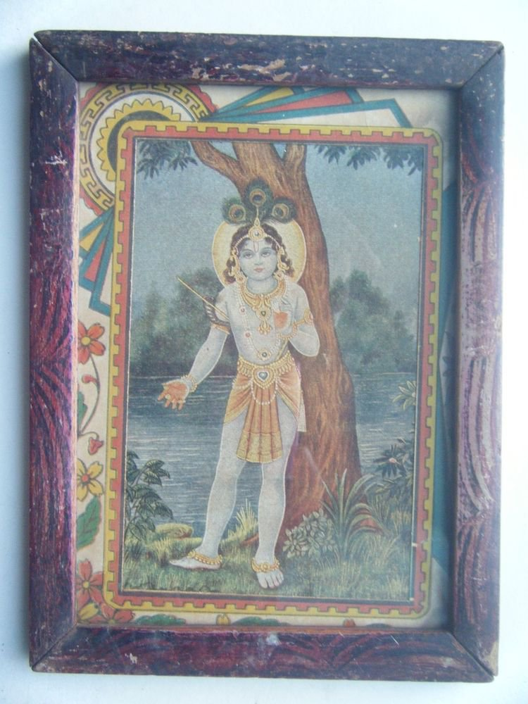 Hindu God Krishna Rare Old Religious Print in Old Wooden Frame India Art #2768