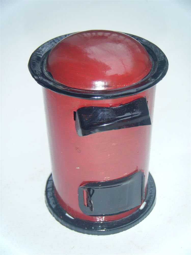 Coin Piggy Bank Mailbox Indian Post Office Box Tin India with Lock Red New #911