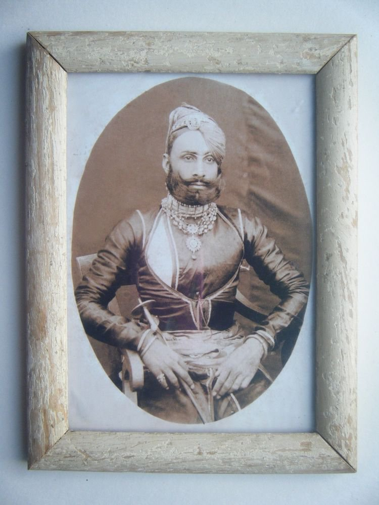 Indian Maharaja Rare Framed Photograph, Vintage Photo in Old Wooden Frame #2691