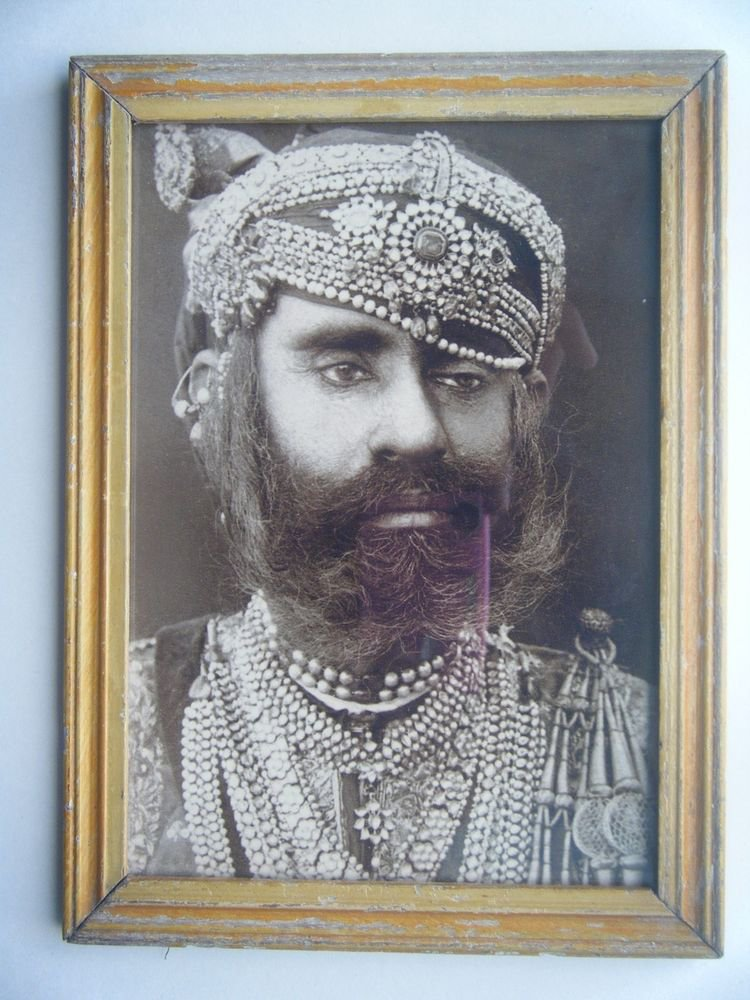 Indian Maharaja Rare Framed Photograph, Vintage Photo in Old Wooden Frame #2702