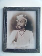 Indian Maharaja Rare Framed Photograph, Vintage Photo in Old Wooden Frame #2714
