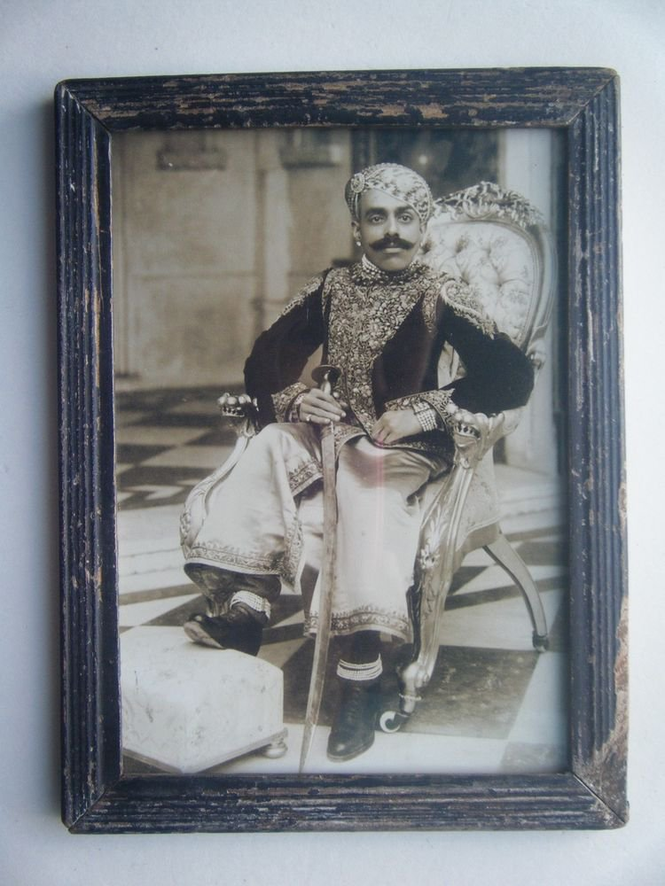 Indian Maharaja Rare Framed Photograph, Vintage Photo in Old Wooden Frame #2709