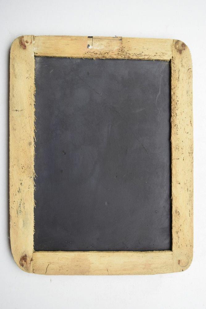 Beautiful Chalk Board Slate Rare Framed Black Stone Old Double Sided Slate #1621