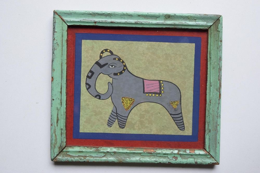 Beautiful Elephant Hand Color Folk Painting in Old Wooden Frame India #3103