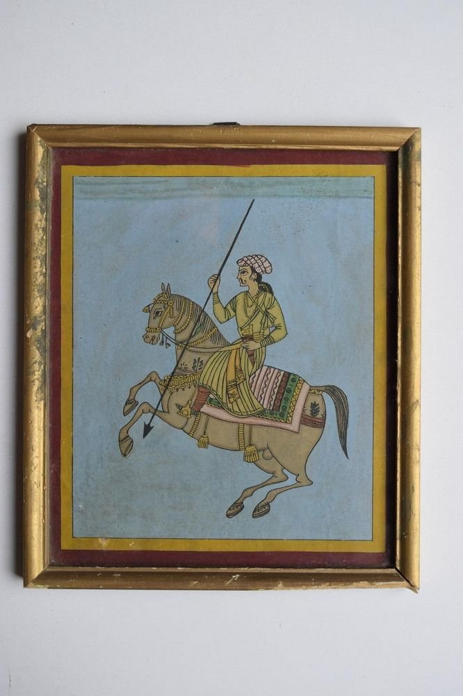 Beautiful Folk Horse Hand Color Painting in Old Wooden Frame India #3096