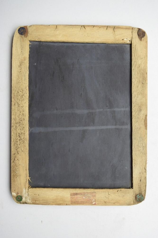 Children Chalk Board Slate Rare Framed Black Stone Old Double Sided Slate #1622