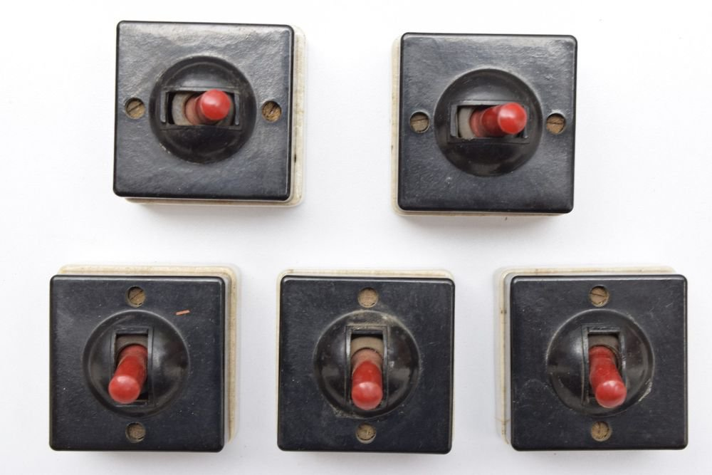 1950s Lot of 5 Rare Old Bakelite Electric Switch Indian Made Original #1329