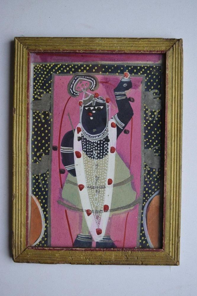 Hindu God Shrinathji Old Original Hand Color Painting in Old Wooden Frame #3079