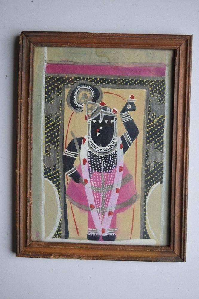 Hindu God Shrinathji Old Original Hand Color Painting in Old Wooden Frame #3078
