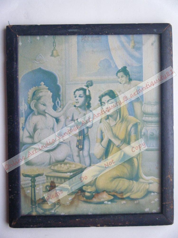 Hindu Elephant God Ganesha Vintage Print in Old Wooden Frame Religious Art #2446