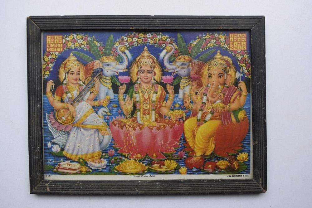 Goddess Laxmi Ganesh Religious Rare Vintage Old Print in Old Wooden Frame #3012