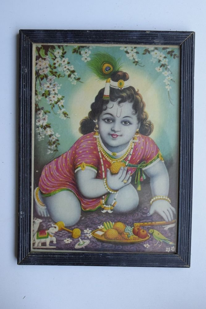 Baby Krishna Collectible Rare Old Art Print in Old Wooden Frame from India #3294