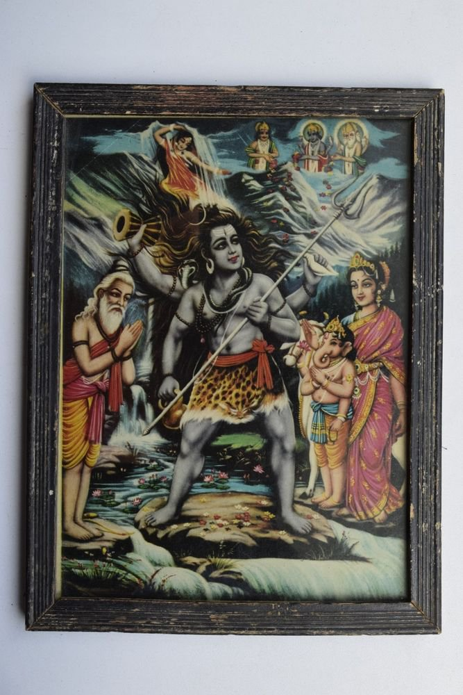 God Shiva Collectible Rare Beautiful Old Print in Old Wooden Frame India #3233