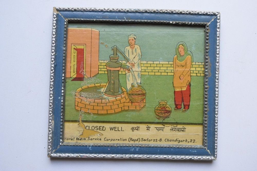 Old Educational Chart Calendar Learning School Print In Old Wooden Frame #3050