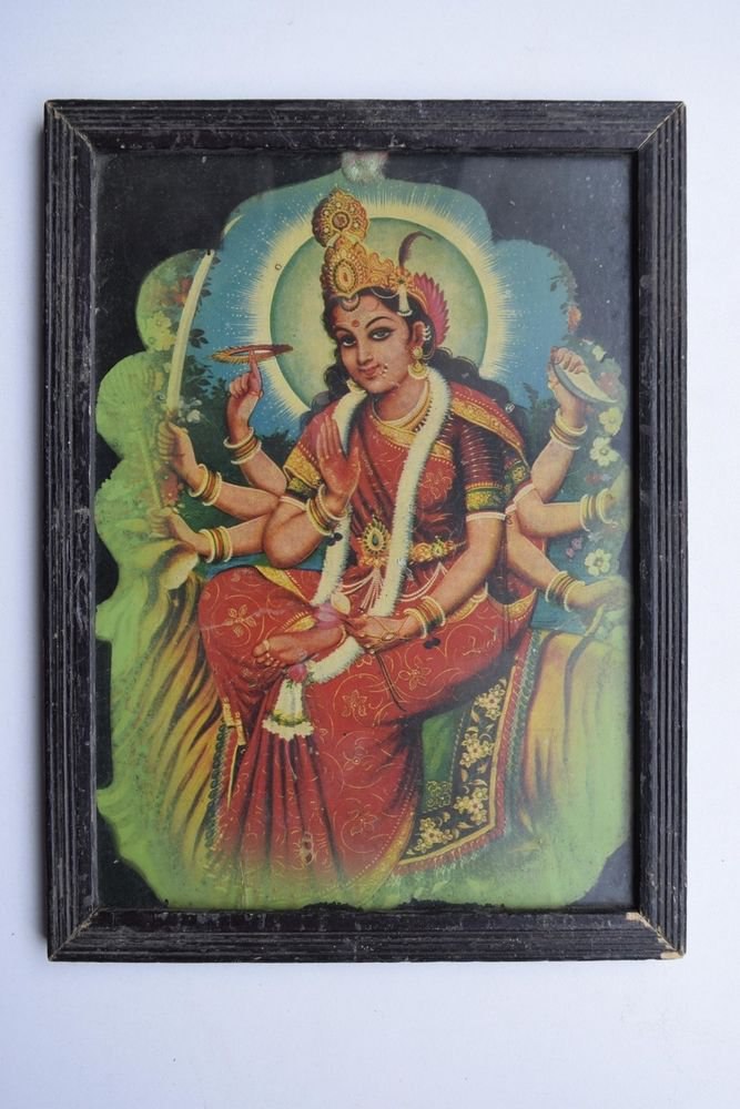 Goddess Ambe Mata Collectible Rare Vintage Old Print in Old Wooden Frame #3007