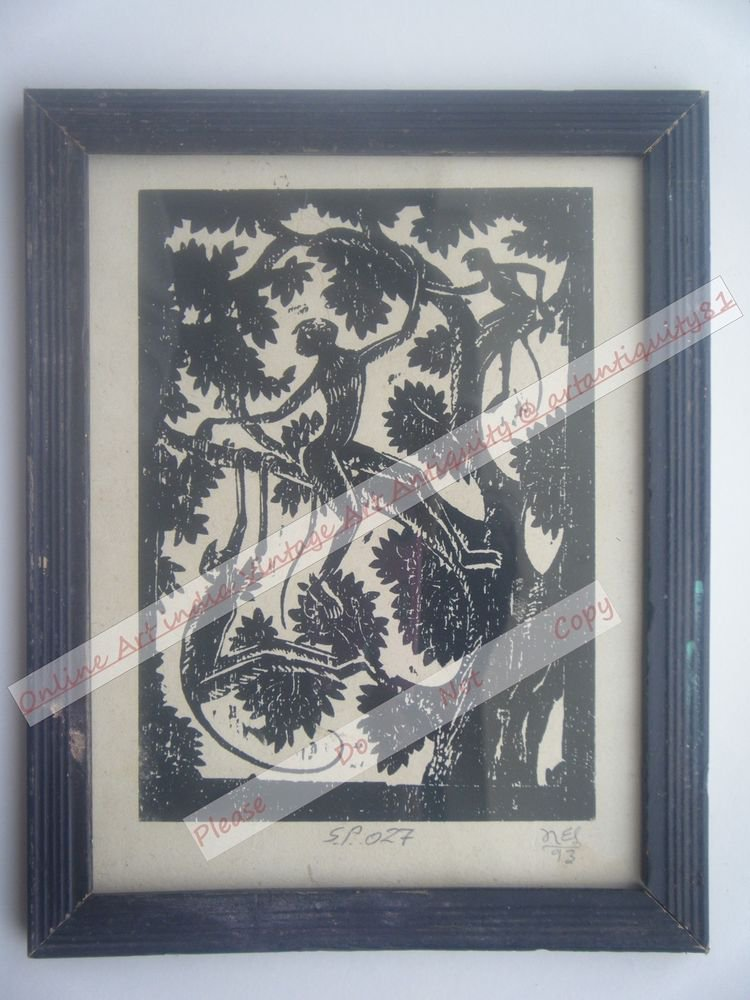 Monkeys Beautiful Signed Art Print in Old Handmade Wooden Frame India #2369