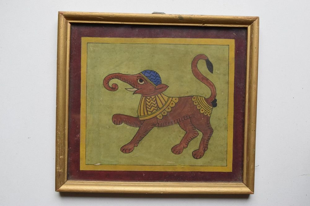 Beautiful Elephant Hand Color Folk Painting in Old Wooden Frame India #3105