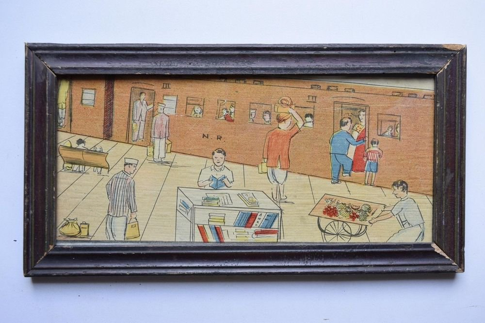 Old Educational Chart Calendar Learning School Print In Old Wooden Frame #3048