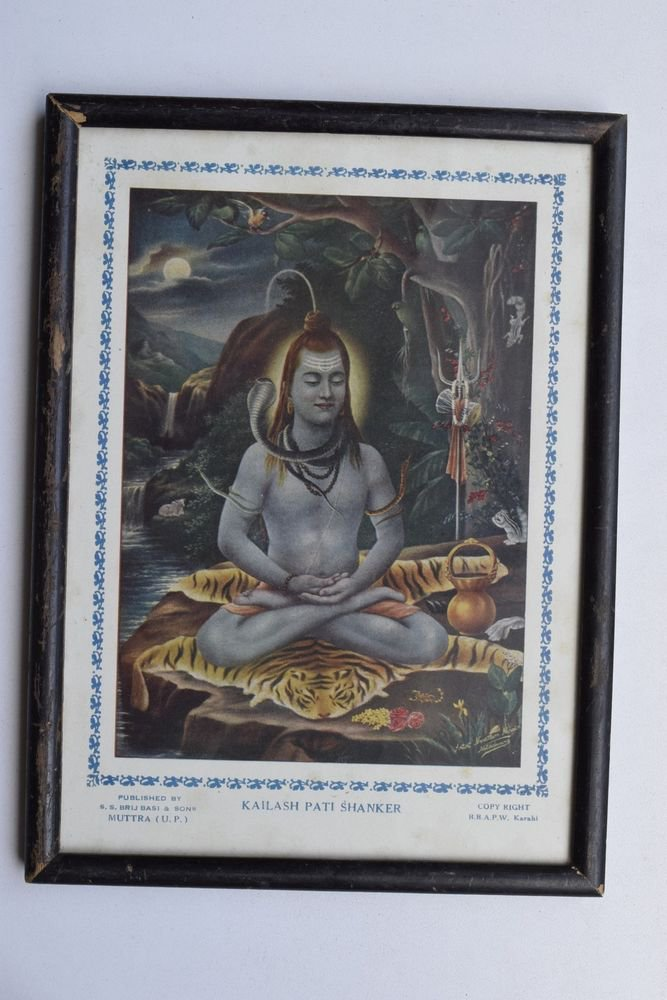 God Shiva Collectible Rare Beautiful Old Print in Old Wooden Frame India #3239
