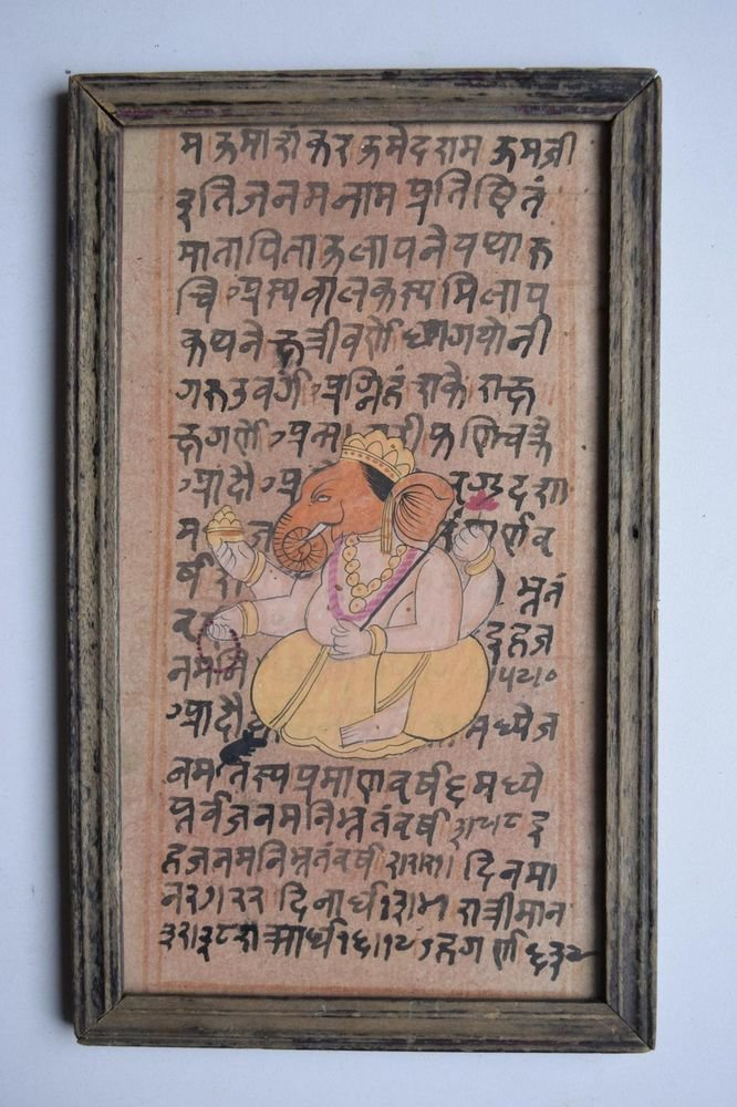 Ganesha Painting on Old Manuscript Hand Color Painting in Old Wooden Frame #3083