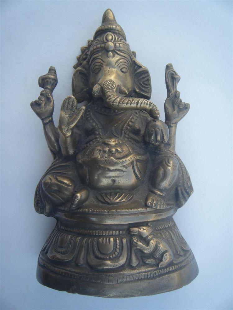 GANESHA Brass Statue Vintage Traditional Indian Elephant God Large Figure #970