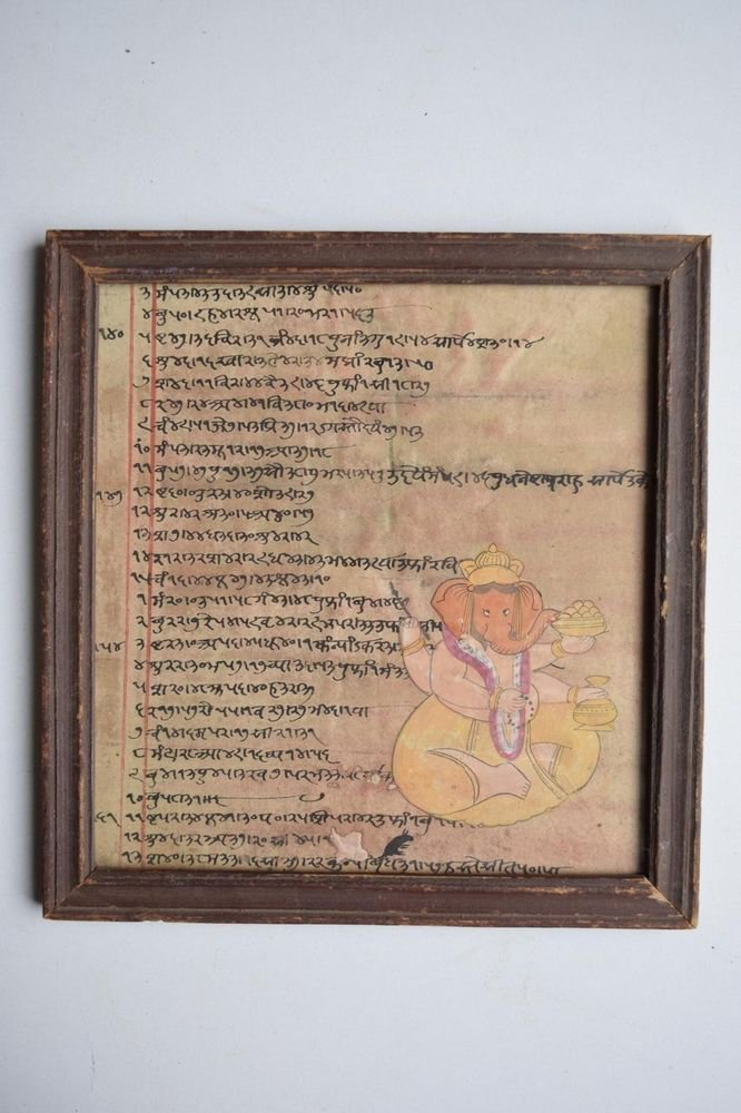 Ganesha Painting on Old Manuscript Hand Color Painting in Old Wooden Frame #3084