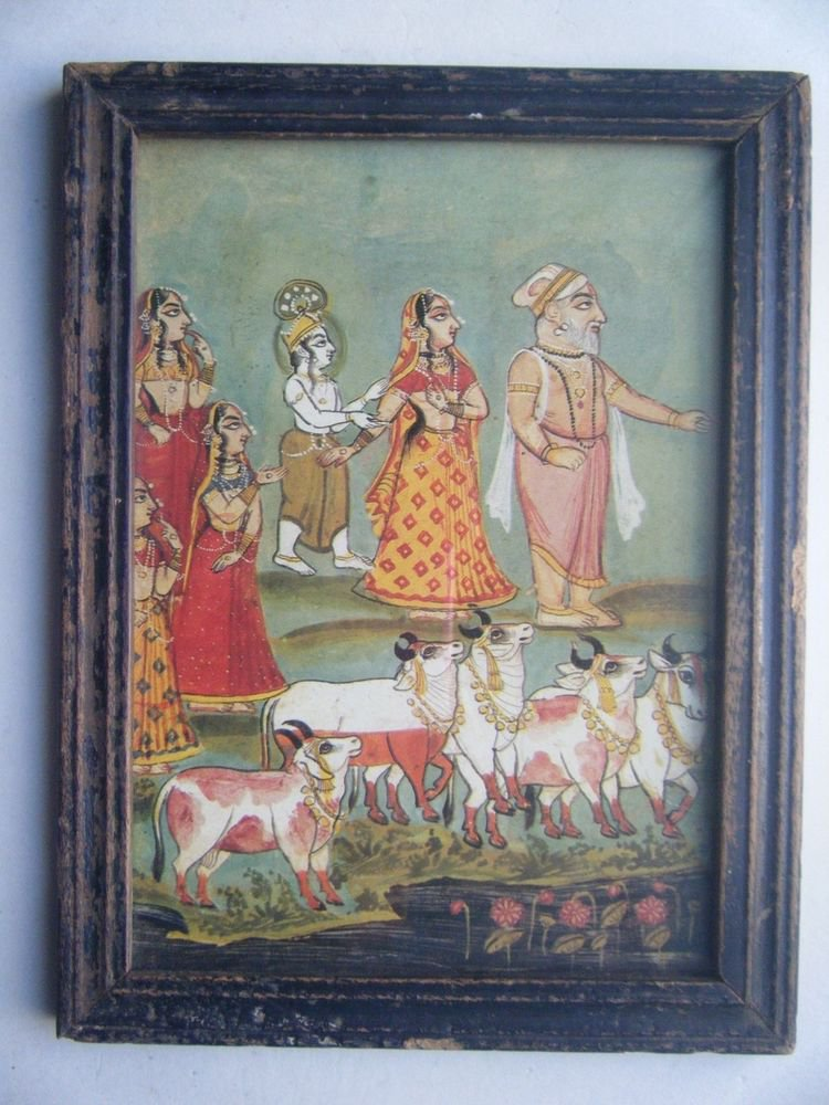 Hindu God Krishna Old Religious Print in Old Wooden Frame India Art #2825