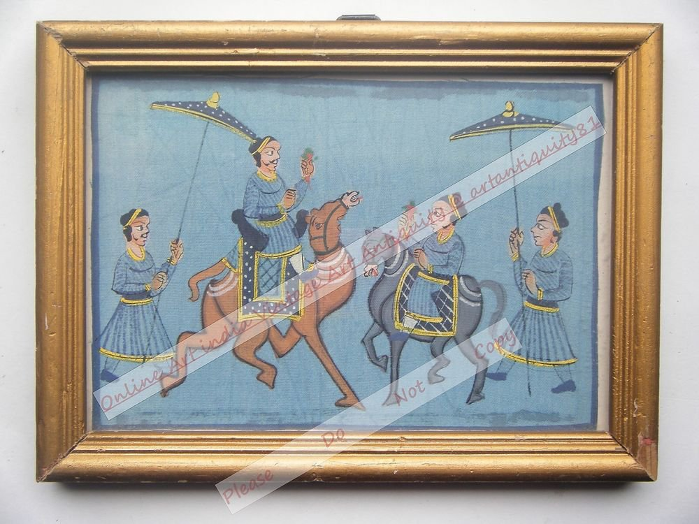 Beautiful Folk Style Original Hand Color Painting in Old Wooden Frame India#2567