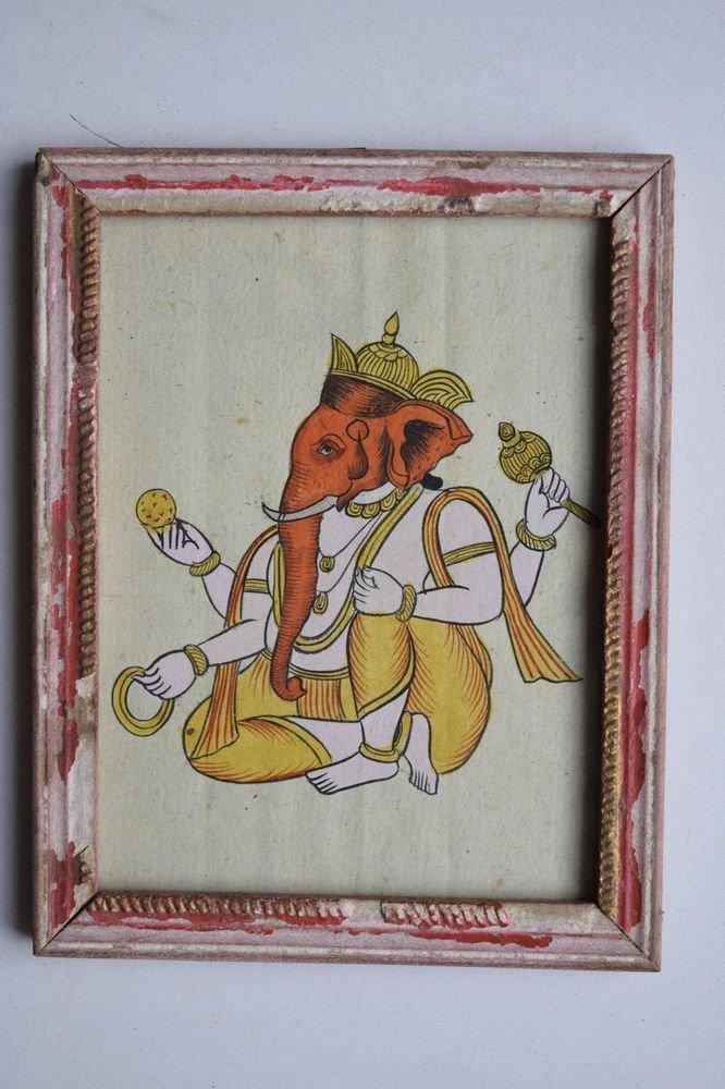 Elephant God Ganesha Old Original Hand Color Painting in Old Wooden Frame #3081