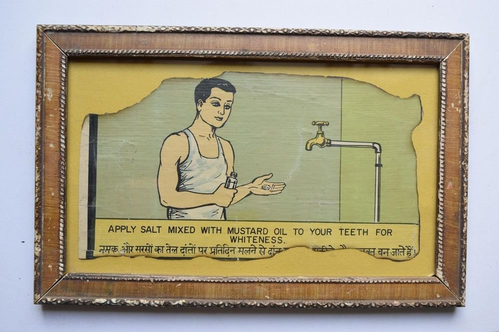 Old Educational Chart Calendar Learning School Print In Old Wooden Frame #3049