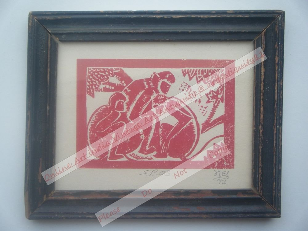 Monkeys Beautiful Signed Art Print in Old Handmade Wooden Frame India #2372