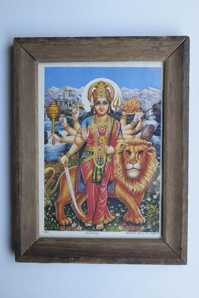 Goddess Durga Collectible Rare Old Religious Art Print in Old Wooden Frame #3338