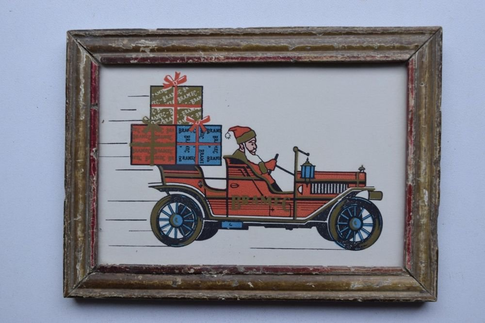 Santa Clause Christmas Beautiful Vintage Old Print in Old Wooden Frame #2996
