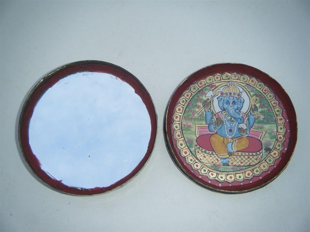 GATTAJI Antique Brass Box with INDIAN Miniature Painting Hindu God Worship #1089