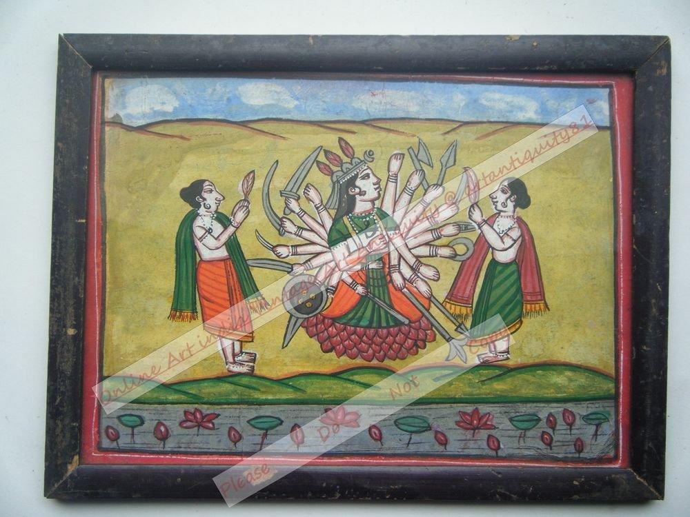 Hindu Goddess Mataji Hand Color Folk Painting in Old Wooden Frame India #2562