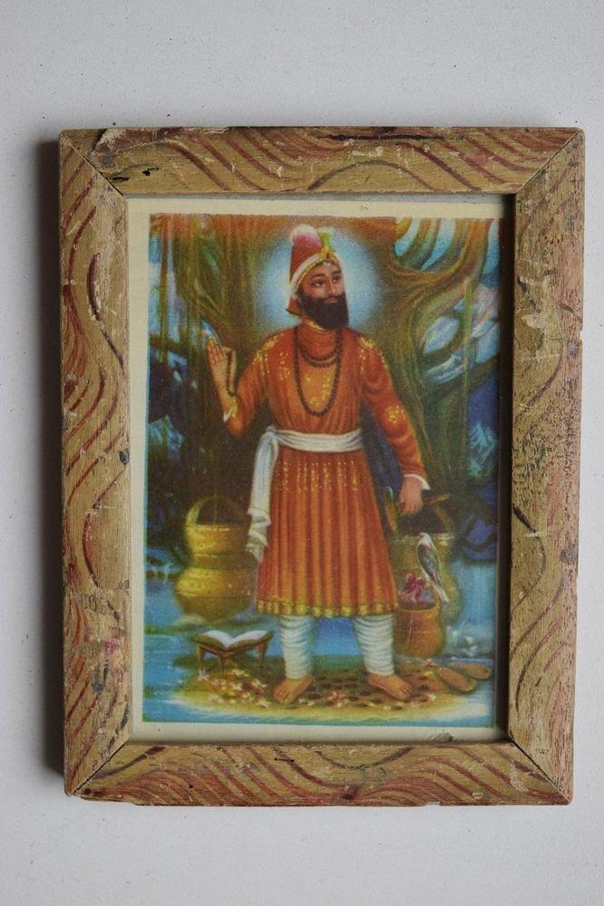Sikh Guru Govind Singhji Old Religious Print in Old Wooden Frame India Art #3143
