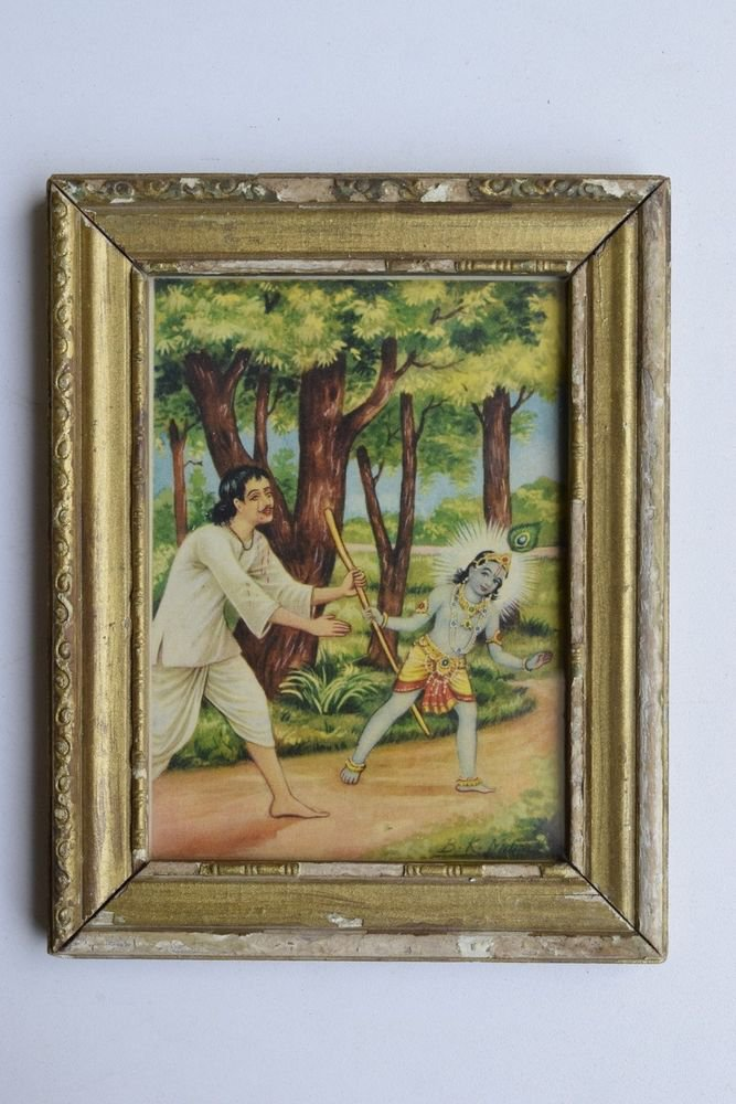 Krishna Collectible Rare Old Art Print in Old Wooden Frame from India #3297