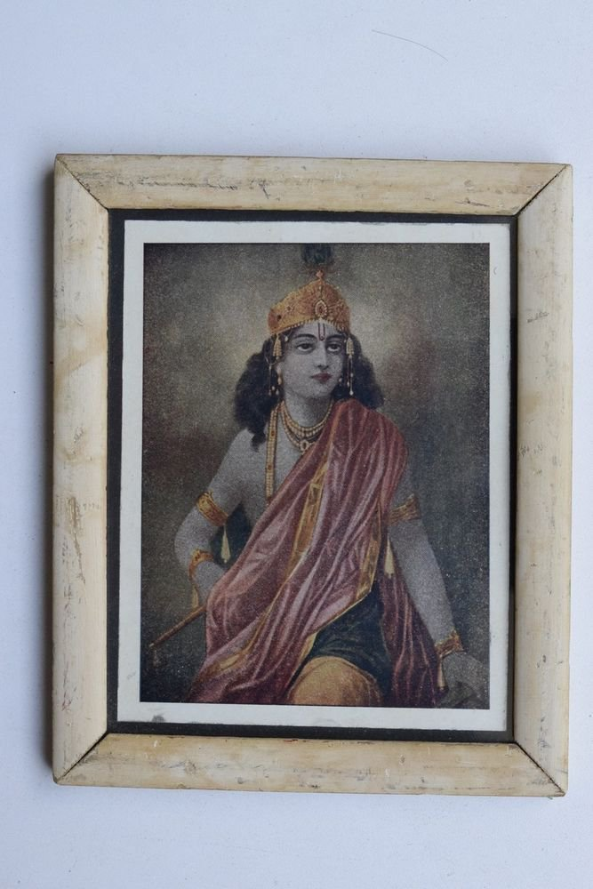Krishna Collectible Rare Old Art Print in Old Wooden Frame from India #3302
