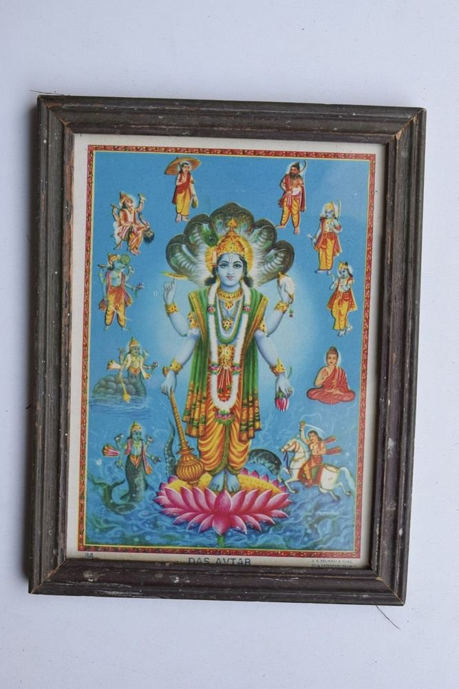 Vishnu Avatar Collectible Rare Old Religious Art Print in Old Wooden Frame #3329