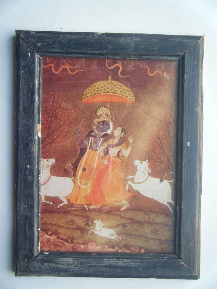 Hindu God Krishna Nice Old Religious Print in Old Wooden Frame India Art #2817
