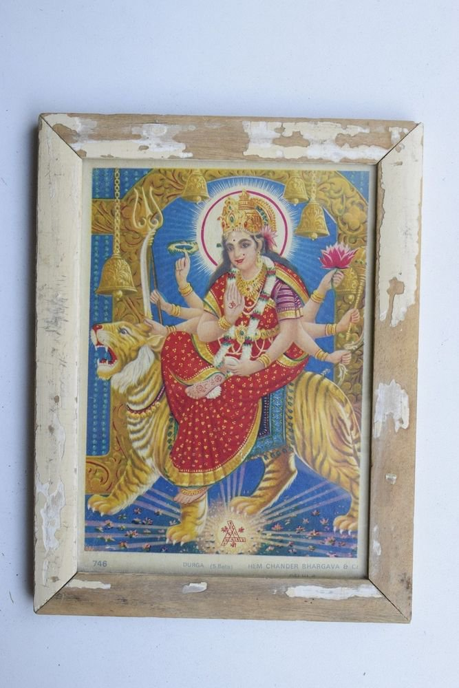 Goddess Durga Collectible Rare Old Religious Art Print in Old Wooden Frame #3339