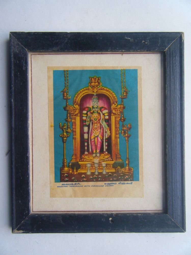 Goddess Meenaskshi Rare Old Religious Print in Old Wooden Frame India Art #2853
