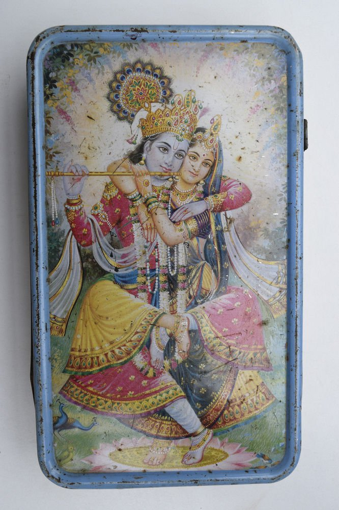 Old Sweets Tin Box, Rare Collectible Litho Printed Tin Boxes India #1440