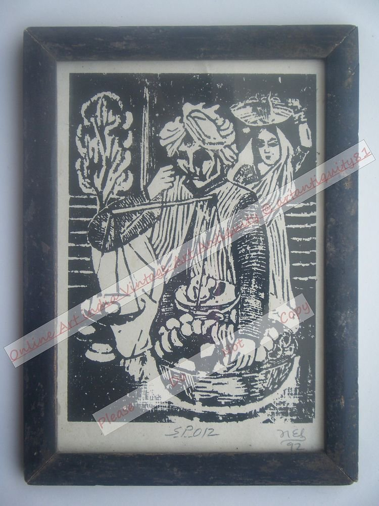 Beautiful Fruit Seller Signed Art Print in Old Handmade Wooden Frame India #2379
