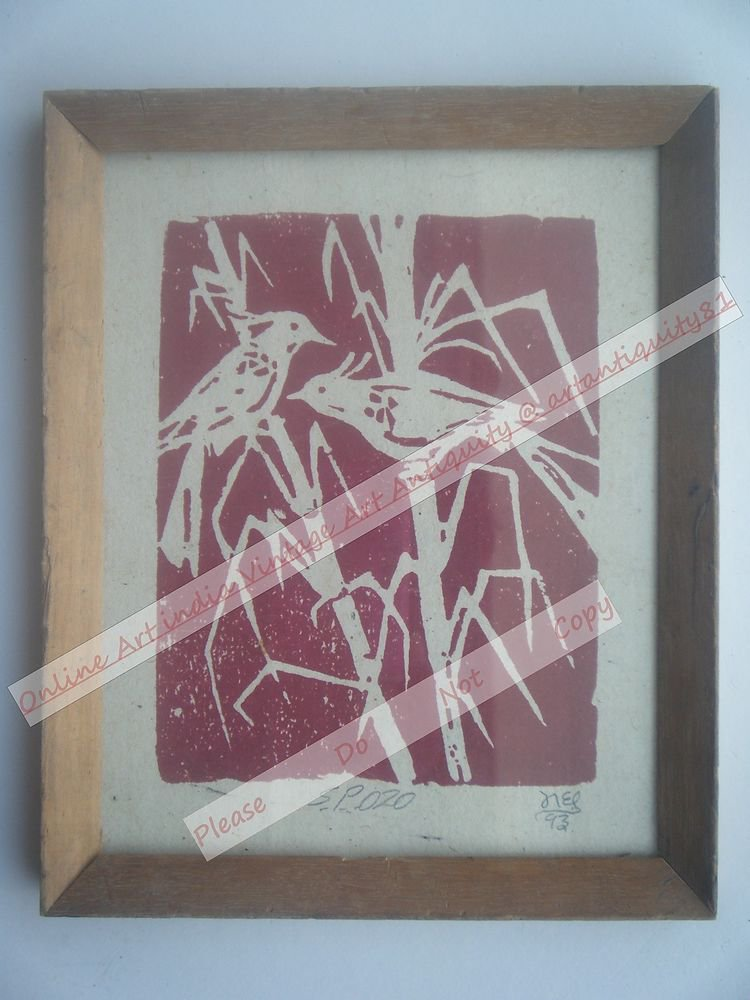 Beautiful Signed Art Print of Birds in Old Handmade Wooden Frame India #2384