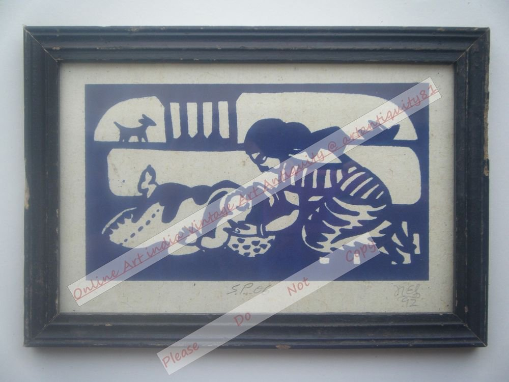 Mother Child Beautiful Signed Art Print in Old Handmade Wooden Frame India #2371