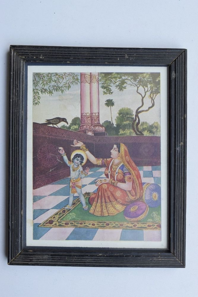 Krishna God Collectible Rare Old Art Print in Old Wooden Frame from India #3282