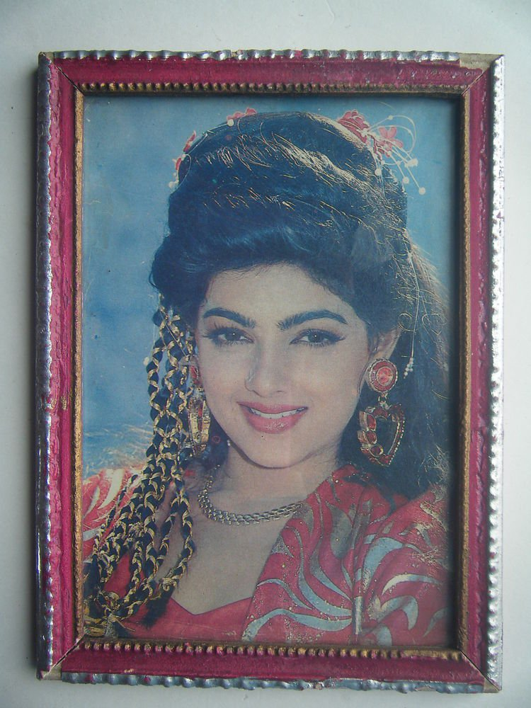 Bollywood Actress Heroin Collectible Old Print in Old Wooden Frame India #2743
